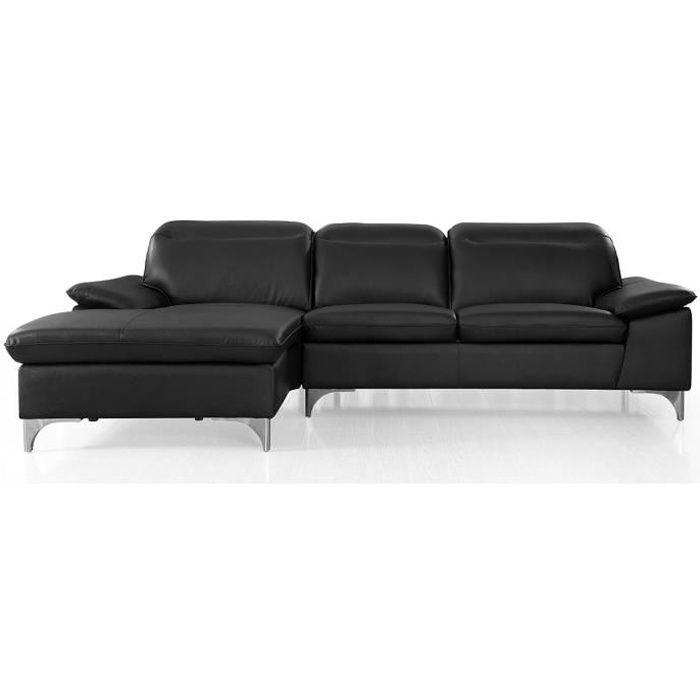 Canapé d'angle gauche en cuir ALIX - Noir - Gauche - Noir