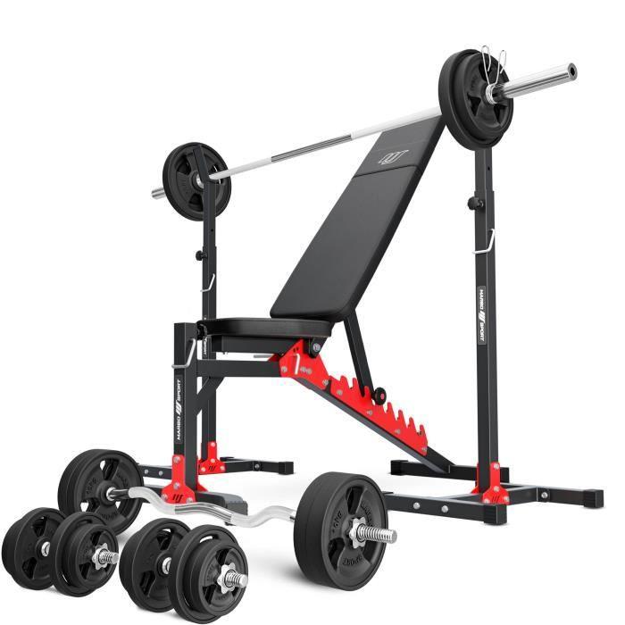 Marbo Sport MH19 141KG KIER G 2.0 - banc de musculation réglable + support + barre et plateaux de poids ensemble caoutchouté 113 kg