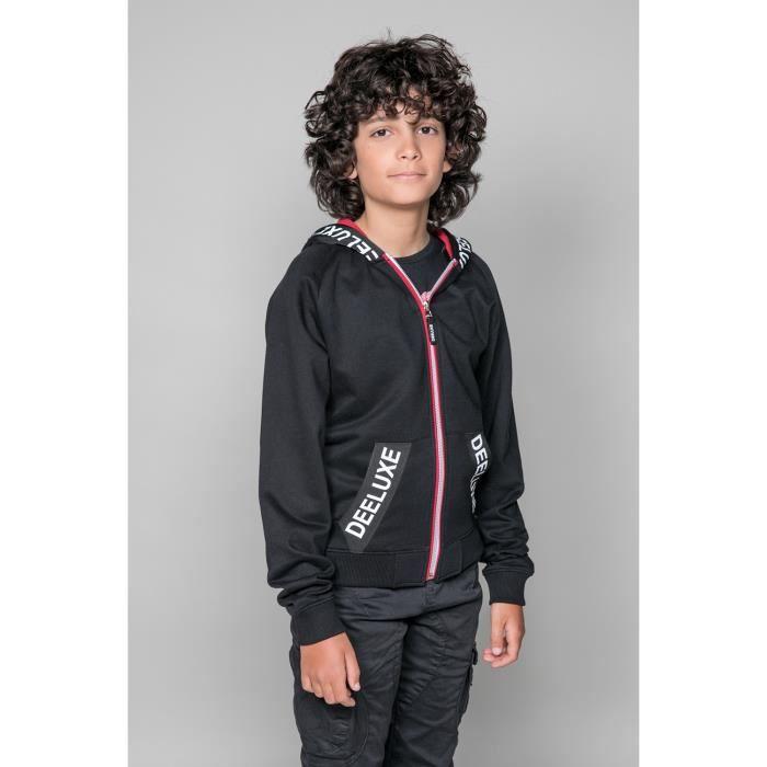 Sweat zippé à capuche contrastée ANGELO - Couleur - Black, Taille - 12