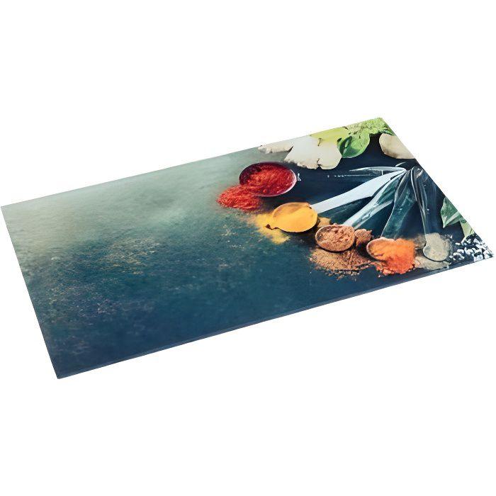 Planche à Découper Verre -Épices- 30x52cm Multicolore