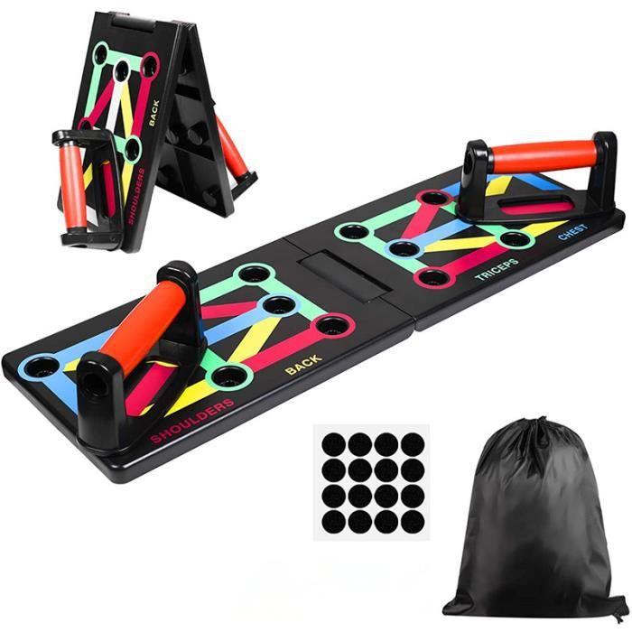 12 in 1 Push Up Board Pliable Planche de Musculation Multifonction avec Poignées de Pompes pour Fitness à Domicile, Portable