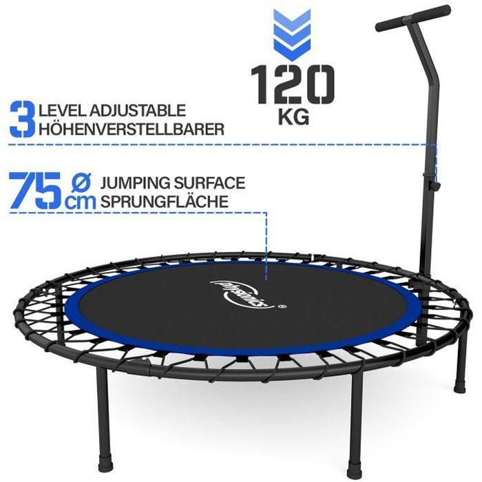 Physionics® Mini Trampoline Fitness - Pliable, Poignée Réglable, Ø 101 cm, Usage Intérieur/Extérieur - Trampoline de Gym, Aérobic