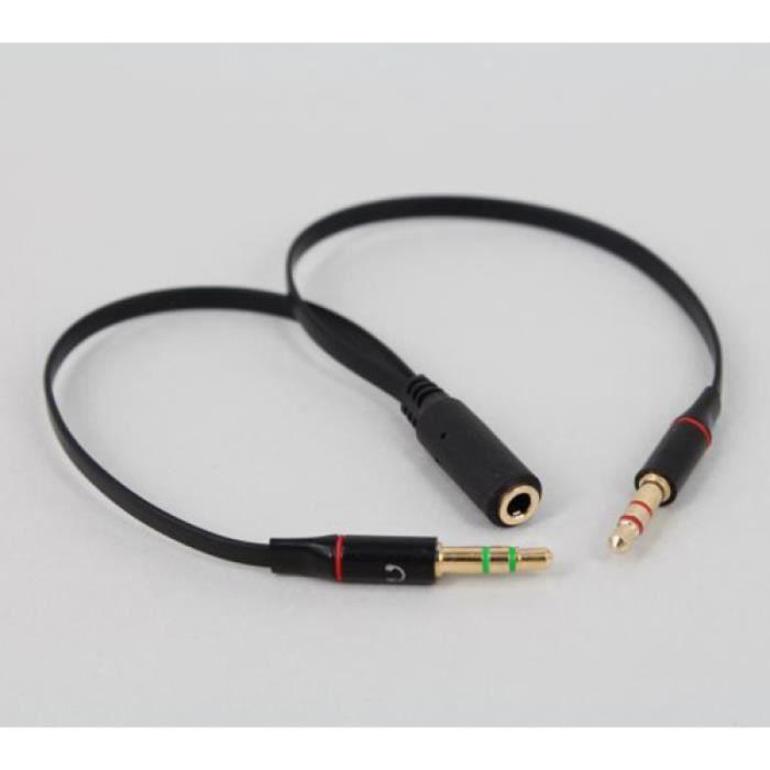 3.5mm Câble Audio Pour Adaptateur Femelle A Mâle Microphone Casque (Noir) CABLE - CONNECTIQUE TV - VIDEO - SON