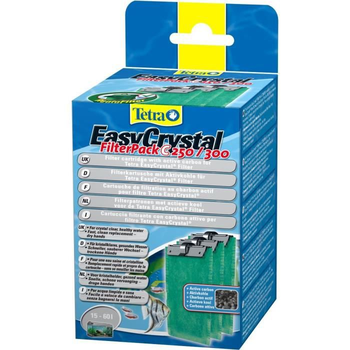 TETRA EasyCrystal C250-300 - Cartouche de Filtration au charbon pour Filtre EasyCrystal 250 et 300 - 3 pièces: Animalerie