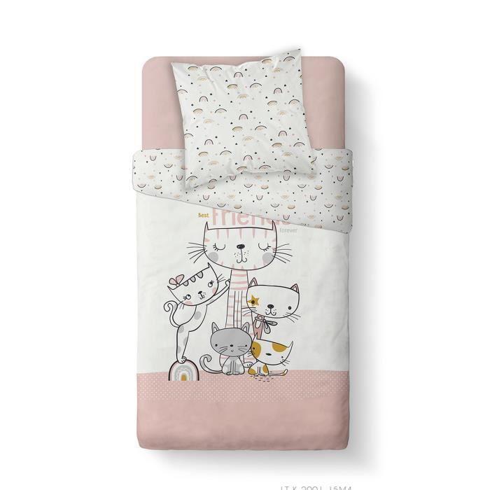 Housse de couette enfant 140x200 cm avec 1 taie d'oreiller 63x63 cm Parure de lit Coton Kids Kool 1.