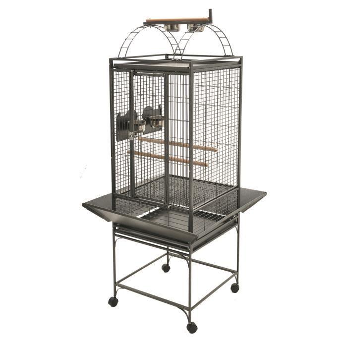 Cagé 'Evita' perroquet gris martelé 50x50x154cm S
