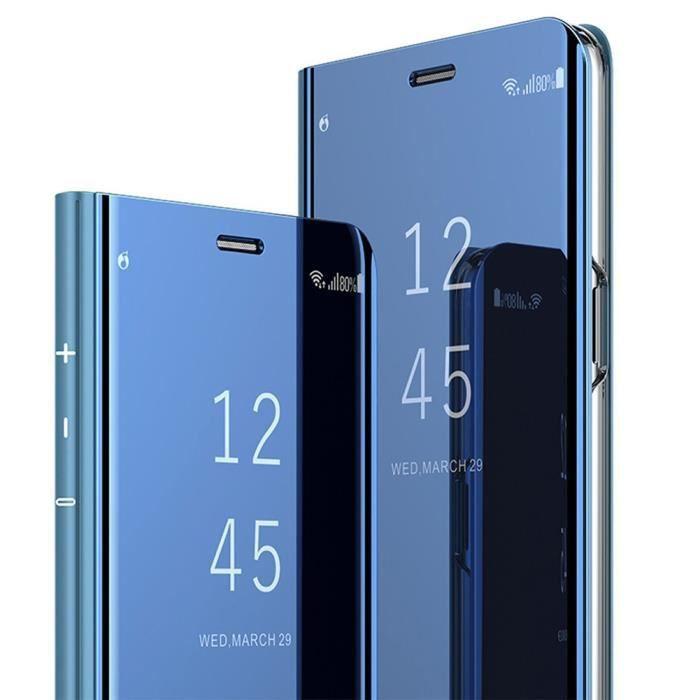 Coque Huawei P Smart Clear View Etui à Rabat Miroir Smart Stand Antichoc Coque Housse Pour Huawei P Smart Bleu