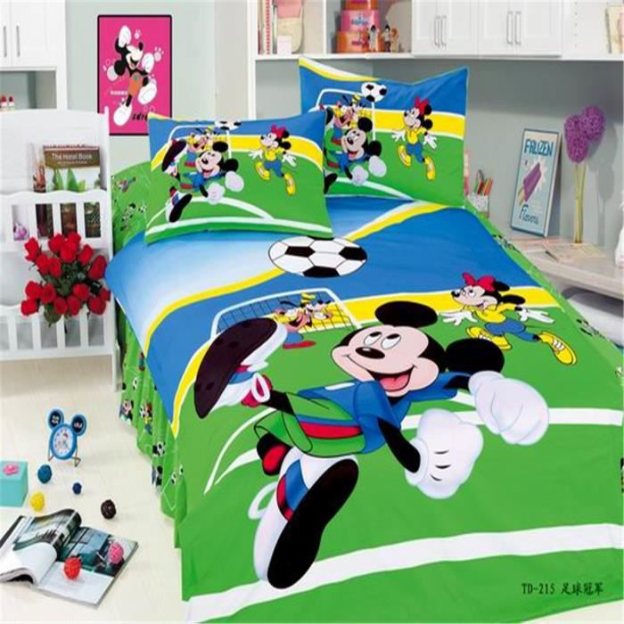 lm parure de lit enfant mickey mouse 100 coton achat vente parure de couette soldes. Black Bedroom Furniture Sets. Home Design Ideas