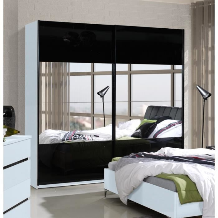 Armoire chambre blanc et noir laque