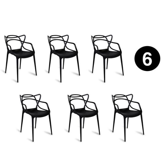 Lot De 6 Chaises Masters Noires Inspiree Kartell Philippe Starck Achat Vente Chaise Noir Cdiscount