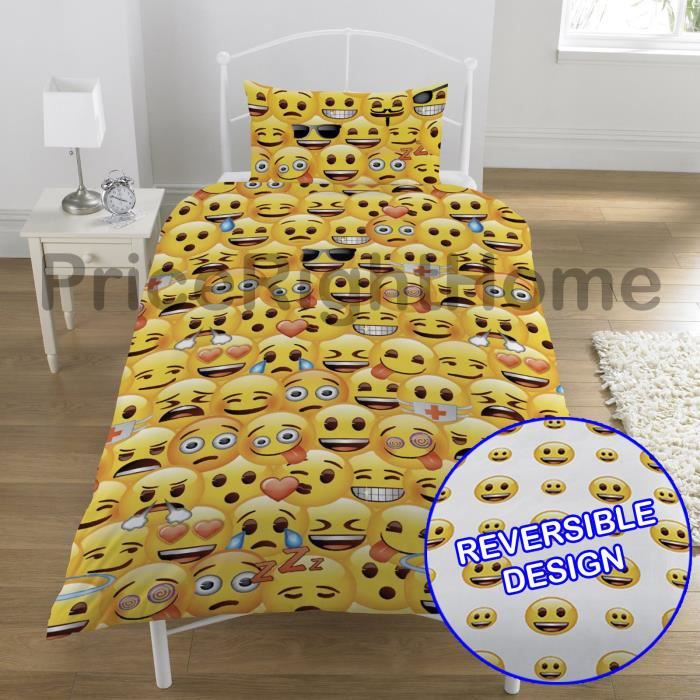 emoji multi smiley faces simple housse de couette et taies. Black Bedroom Furniture Sets. Home Design Ideas
