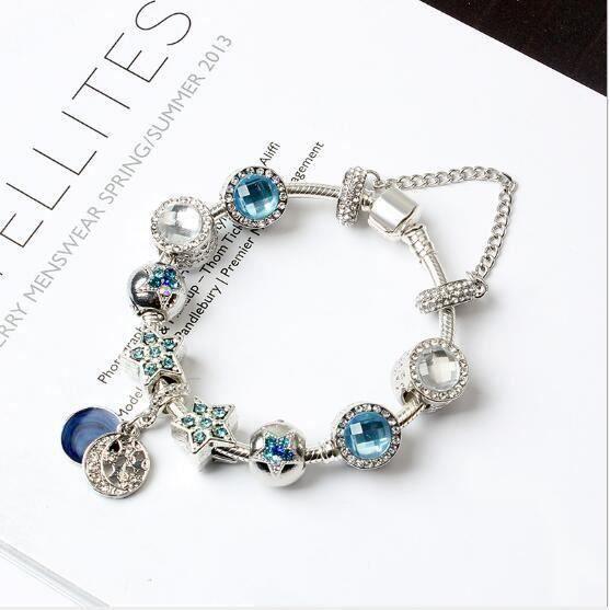 19CM Bleu Charms Bracelet Pandora Style bijoux Femme CZ Trèfle ...