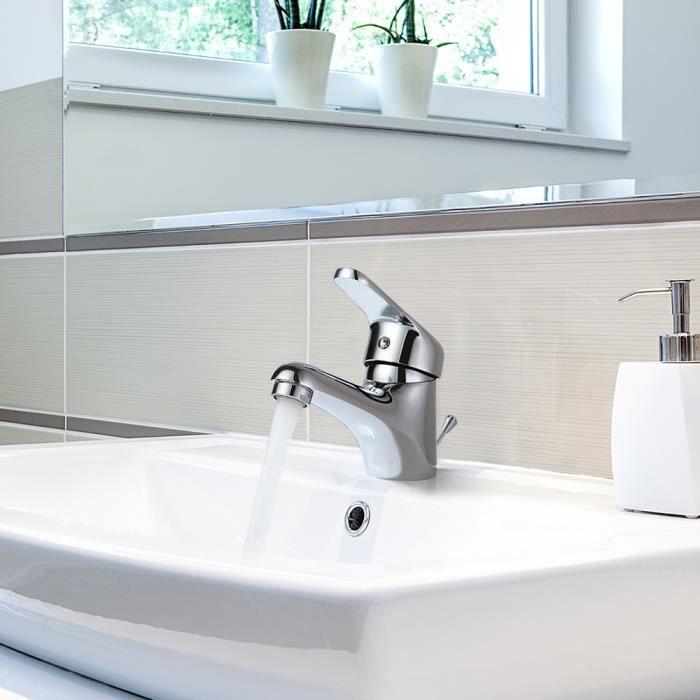 Auralum Robinet Lavabo Salle Bain Monotrou avec Bonde Automatique à Tirette  Mitigeur Lavabo en Laiton Chromé Pour Vasque/Lave-mains