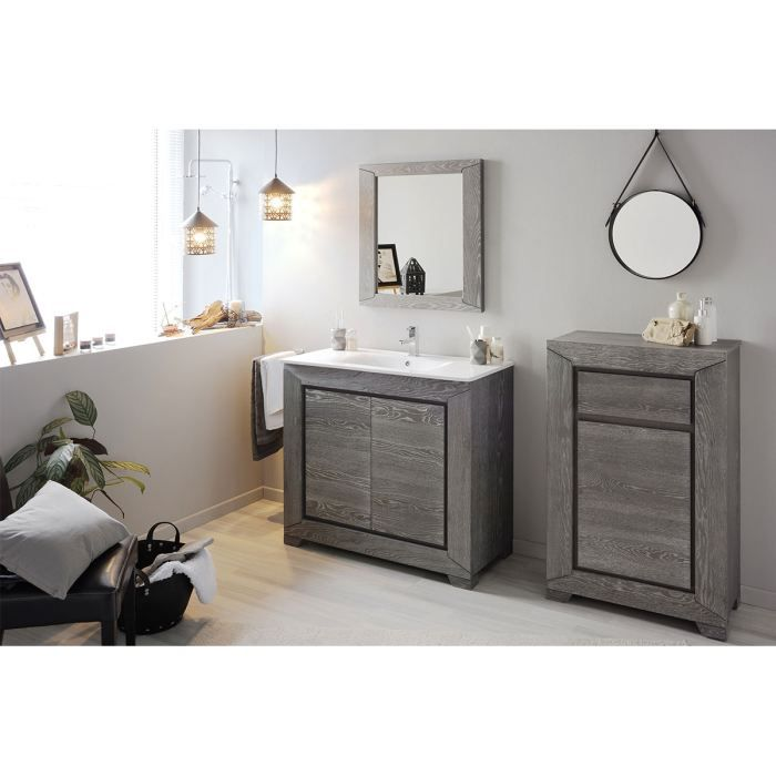 meuble salle de bain 1 vasque 1 miroir ch ne gr achat vente salle de bain complete meuble. Black Bedroom Furniture Sets. Home Design Ideas