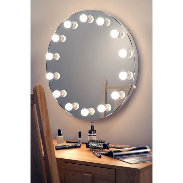 miroir de maquillage hollywood rond lampes del graduables blanc chaud k250ww ampoules del. Black Bedroom Furniture Sets. Home Design Ideas