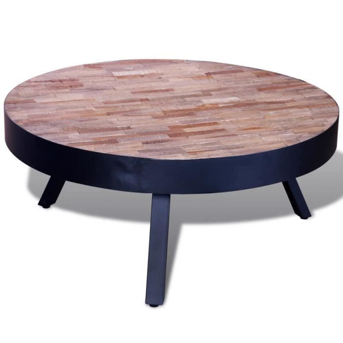table basse ronde en bois teck recycl avec 3 pieds en m tal style vintage table d 39 appoint. Black Bedroom Furniture Sets. Home Design Ideas