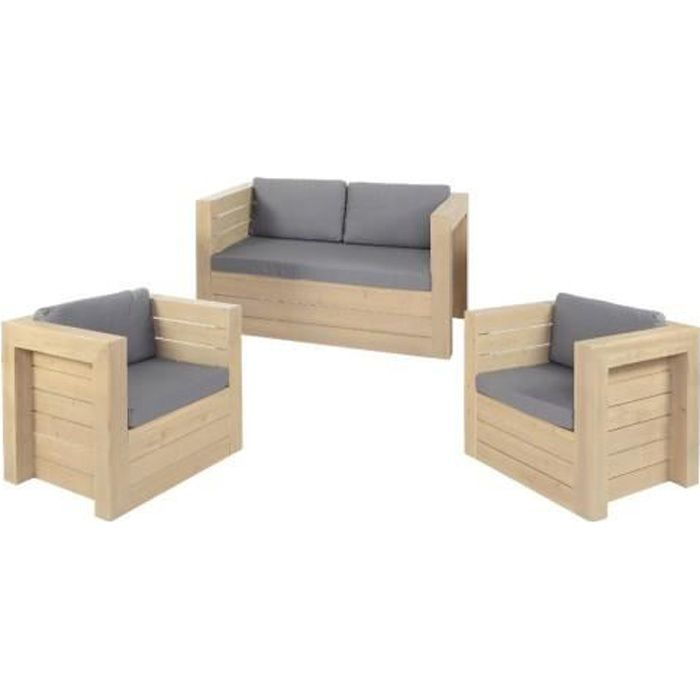 canape 2 fauteuils malok achat vente salon complet bois coton cdiscount. Black Bedroom Furniture Sets. Home Design Ideas