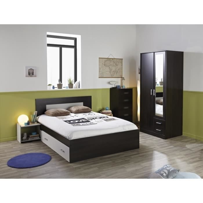 chambre compl te mega lit 140 chevet armoire achat vente chambre compl te chambre compl te. Black Bedroom Furniture Sets. Home Design Ideas