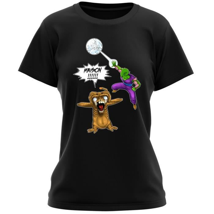 T-SHIRT T-shirt Femme Noir DBZ et E.T. Extra-Terrestre par