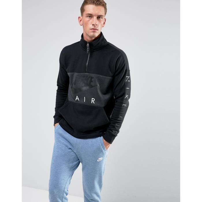 Nike sweat shirt à demi zip pour homme en noir 861620 010