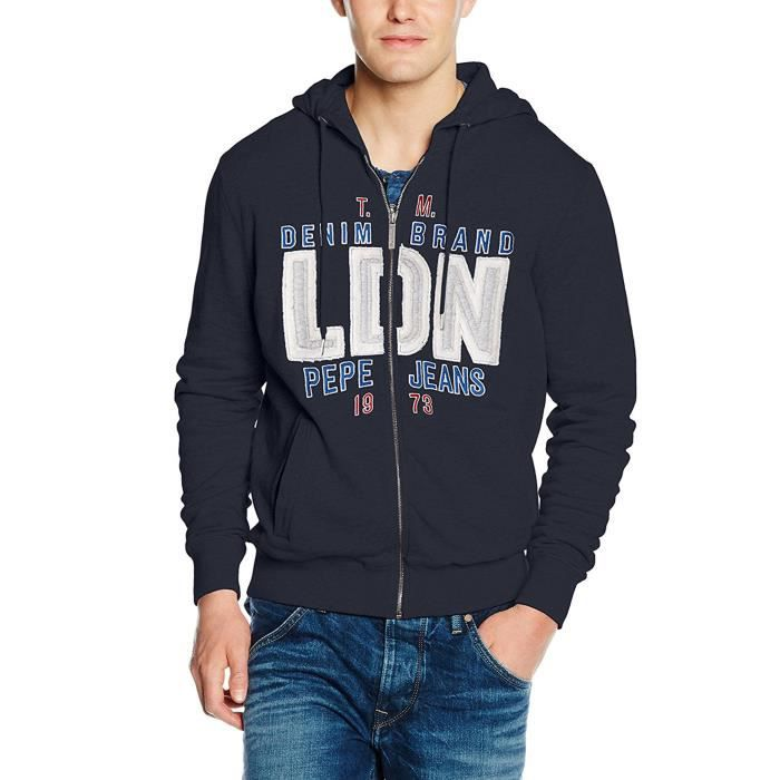 PEPE JEANS Electric Sweat Zip Homme Taille S BLEU Bleu