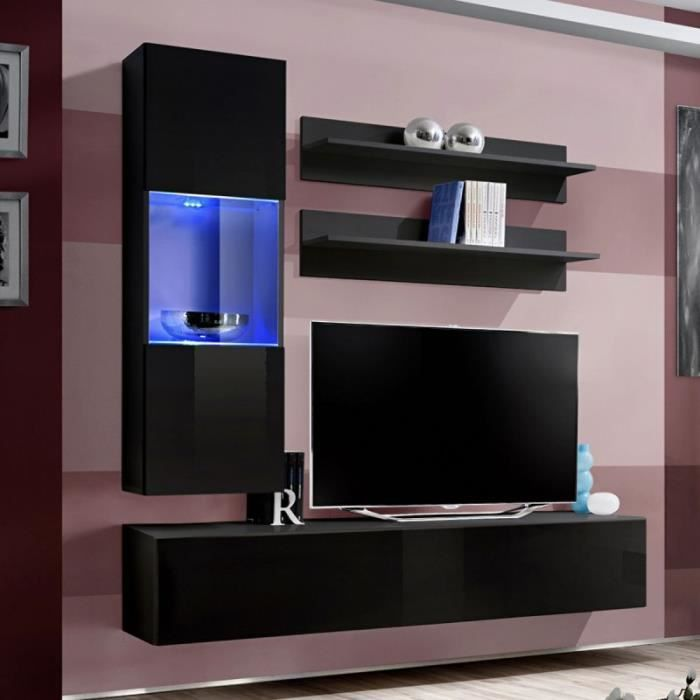 paris prix meuble tv mural design fly iii 170cm noir. Black Bedroom Furniture Sets. Home Design Ideas