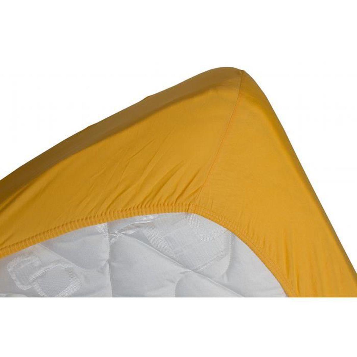 DRAP HOUSSE Drap housse jersey extensible DOUCEUR jaune or - 1