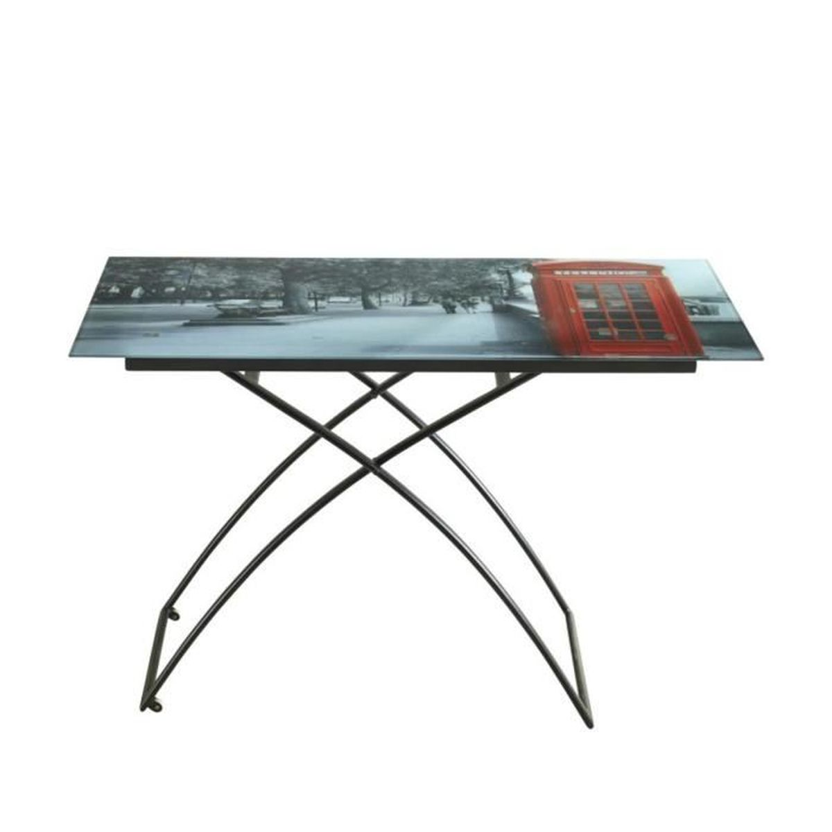 Table de sejour table basse london en m tal verre noir - Table de sejour en verre ...