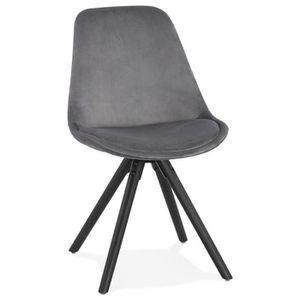 CHAISE Chaise vintage 'RICKY' en velours gris et pieds en