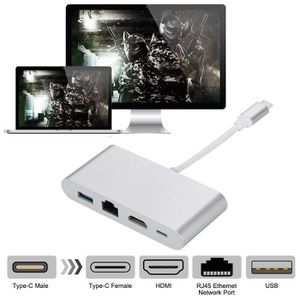 CÂBLE RÉSEAU  USB C à + HDMI 4K RJ45 réseau LAN + USB 3.0 + Type