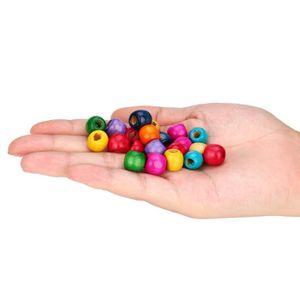 220x perles en bois à gros trous en bois naturel pour artisanat européen