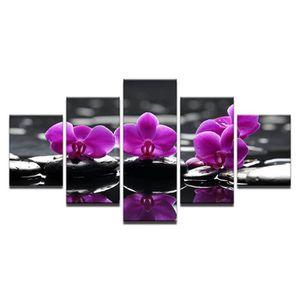 TABLEAU - TOILE Toiles imprimées 5 pieces Spa pierres mite orchidé