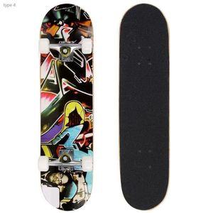 SKATEBOARD - LONGBOARD Skateboard complet en bois d'érable PU roues - Pla