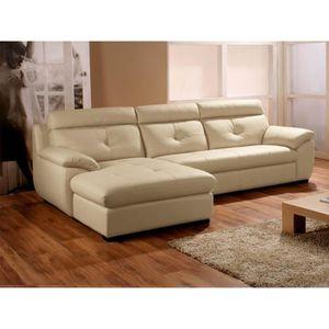 CANAPÉ - SOFA - DIVAN Canapé d'angle gauche en cuir spérieur beige DANA