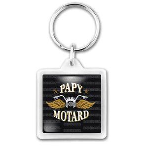 PORTE-CLÉS Porte-Clés Carré Plastique Papy Motard - Moto Ailé