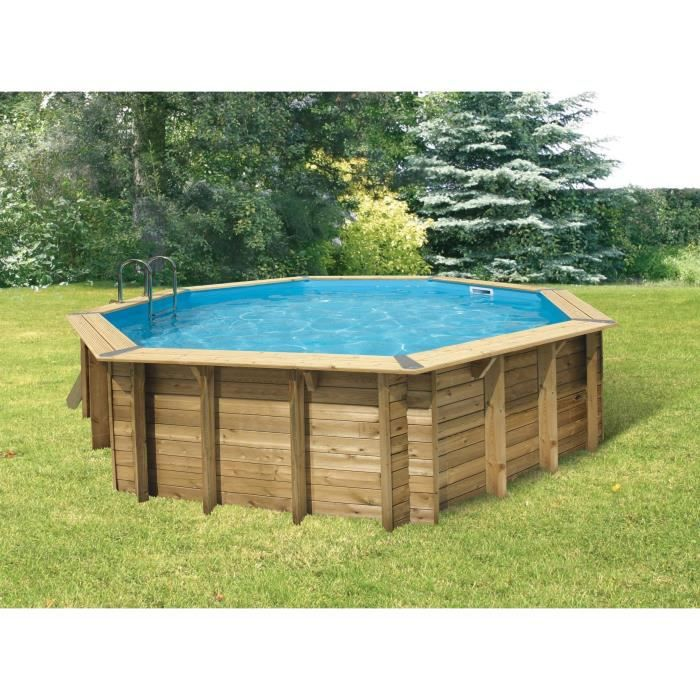 Ubbink piscine bois ocea bleue 580 h130cm achat for Piscine jardin rectangle
