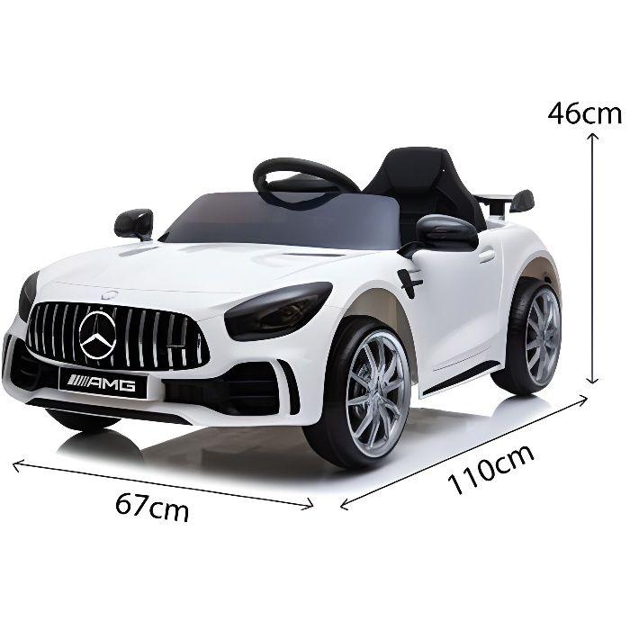 Mercedes GTR 12v Blanc - Voiture électrique pour enfant avec batterie 12v et télécommande