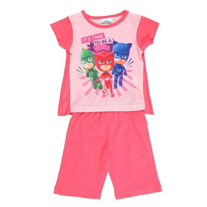 PYJAMASQUES Ensemble T-shirt avec Cape + Short Sérigraphié - Enfant Fille - Rose