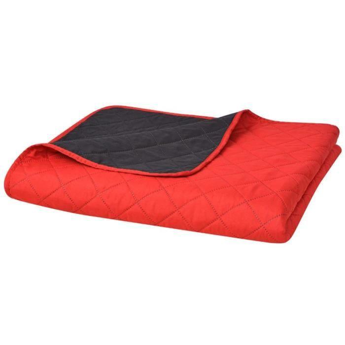 Couvre-lit double face matelassé Rouge et noir 230 x 260 cm-TIP