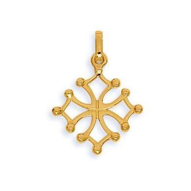 Pendentif croix du languedoc or jaune 375/1000 (9 Carats)