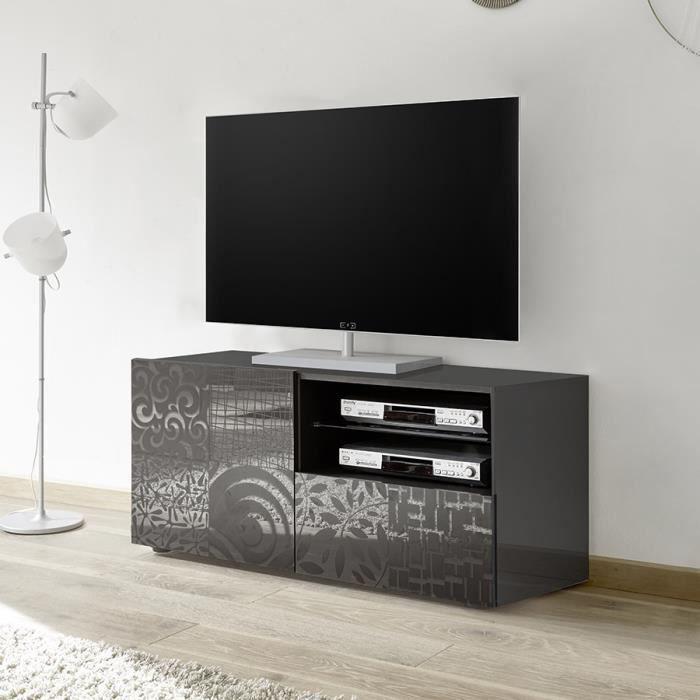 Petit meuble TV 120 cm gris laqué design ELMA 2 Sans éclairage Gris