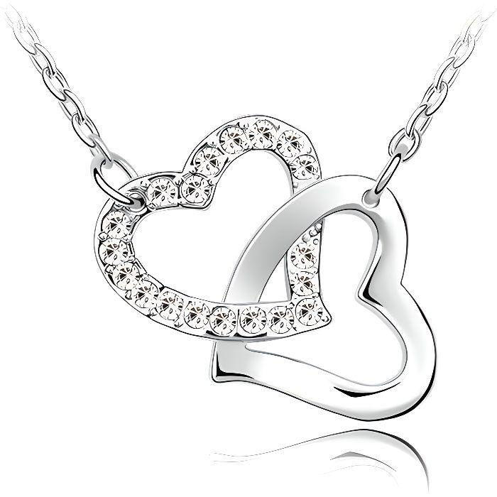 Collier Coeurs entrelacés Cristal Swarovski Element blanc
