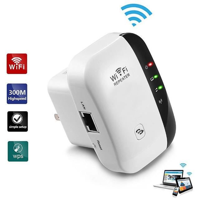 WiFi Répéteur, Extenseur sans Fil 300M Internet sans Fil/Amplificateur de Signal du Point d'accès (AP), Supporte la Norme WiFi-N