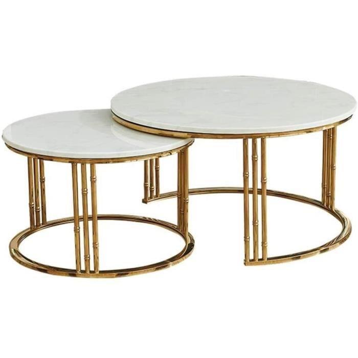 Tables de jardin Salon Moderne Côté café Set de Table, Fer forgé Table Fil Stand, Table de marbre Naturel, Affichage com 101007