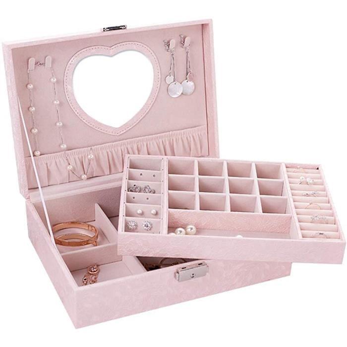 Jewelry Box Boîte à Bijoux Femme Fille Cuir Jewellery Organiser Box 2 Couches Coffret à Bijoux Leather Jewelry Storage Case Girl366