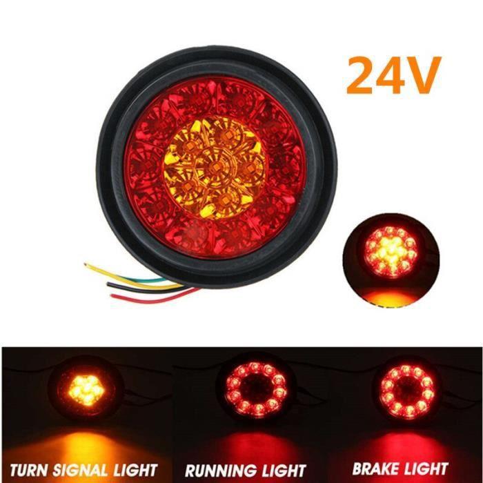 1pc 24V Red Yellow -Feu arrière rond LED ambre rouge 16LED 12V-24V, feu de Stop et marche arrière pour voiture camion remorque