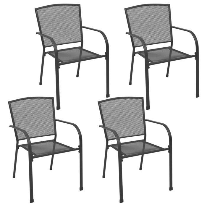 Lot de 4 Chaises d'extérieur Chaise de jardin - Fauteuil de Jardin Design maillé Anthracite Acier Nouveau *239788