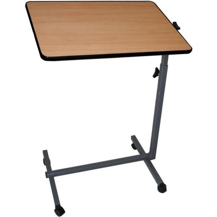 Table d'appoint avec roulettes pour lit et canapé - Pliante - Couleur bois