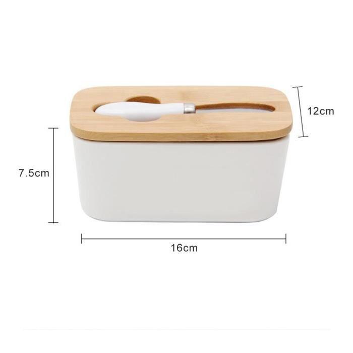 Plateau,Boîte à beurre en céramique scellée De style nordique, couvercle en bois pour tableau blanc, couteau - Type 16x12x7.5cm
