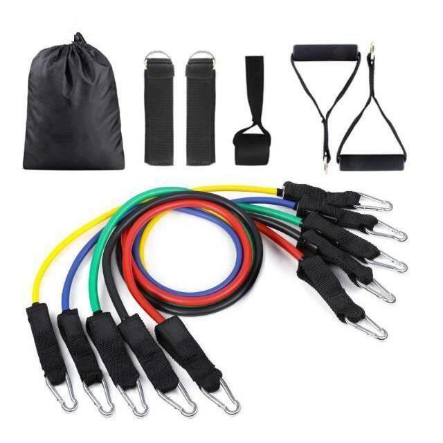 Bandes de Resistance Elastiques Musculation Set, Latex Fitness Exercice Bands Kit avec Ancre de Porte/Poignées/Sangle de Cheville po